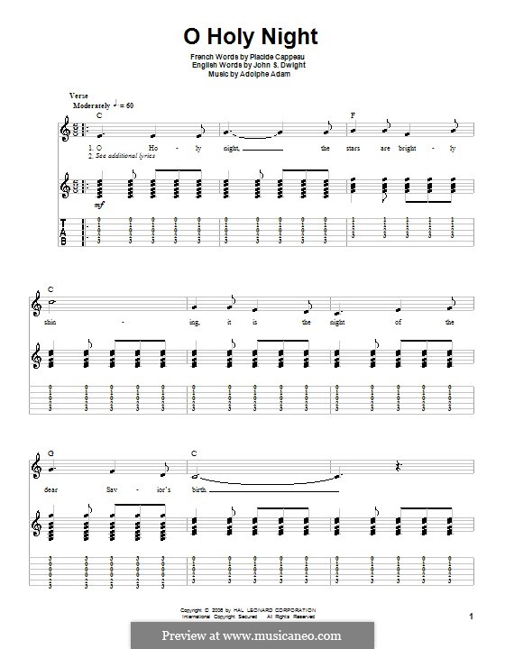 O Holy Night (Printable Scores): For guitar with tabulature by Adolphe Adam