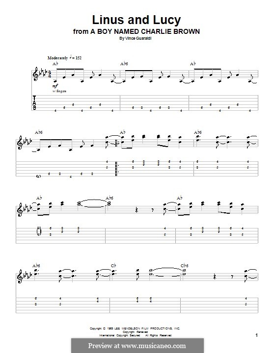 Linus and Lucy (from A Boy Named Charlie Brown): For guitar with tab by Vince Guaraldi
