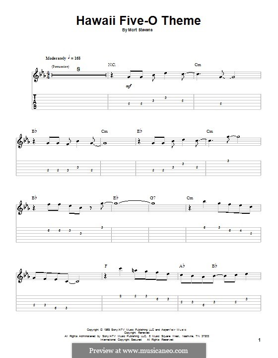 Hawaii Five-O Theme (The Ventures): For guitar with tab by Mort Stevens