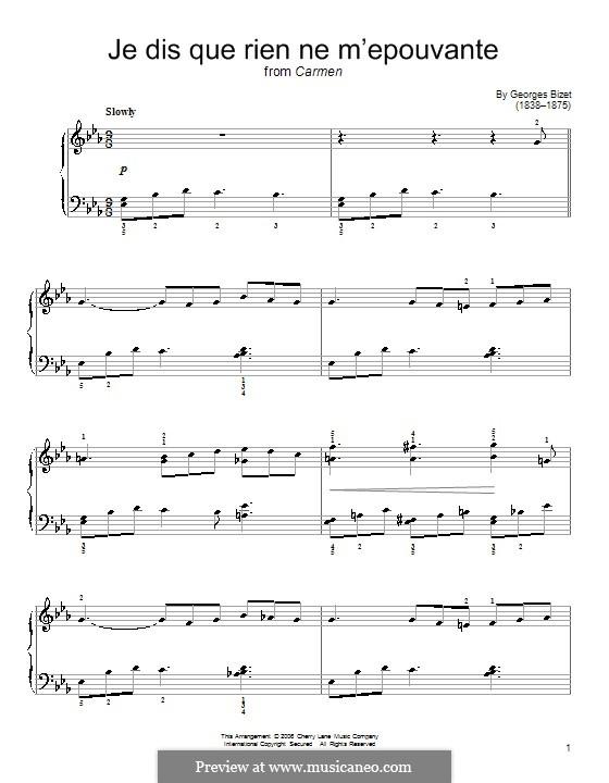 Je dis, que rien ne m'épouvante: For piano by Georges Bizet