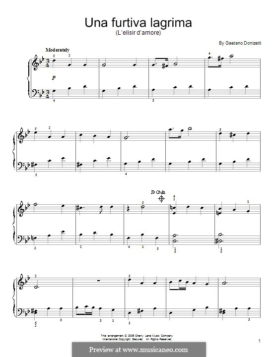 L'elisir d'amore (The Elixir of Love): Act II, Romance Nemorino 'Una furtiva lagrima', for piano by Gaetano Donizetti