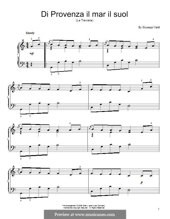 Di provenza il mar: For easy piano by Giuseppe Verdi