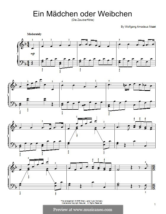 A Girl or a Woman: For piano by Wolfgang Amadeus Mozart