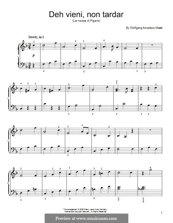 Deh, vieni, non tardar: For piano by Wolfgang Amadeus Mozart