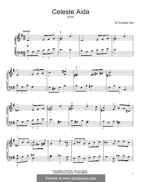 Celeste Aida: For piano by Giuseppe Verdi