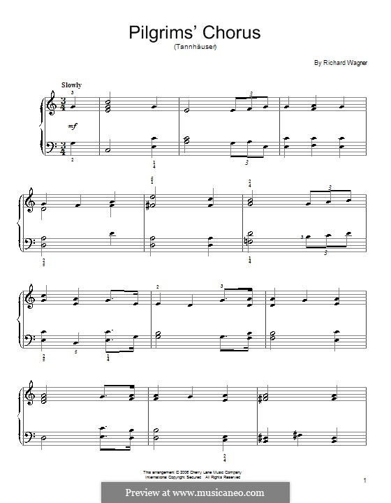 Choir of Pilgrims: For piano by Richard Wagner