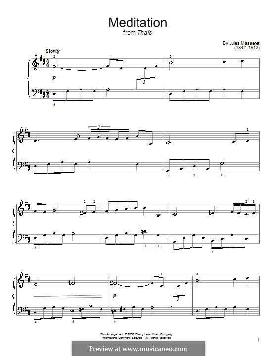 Meditation: Version for easy piano by Jules Massenet