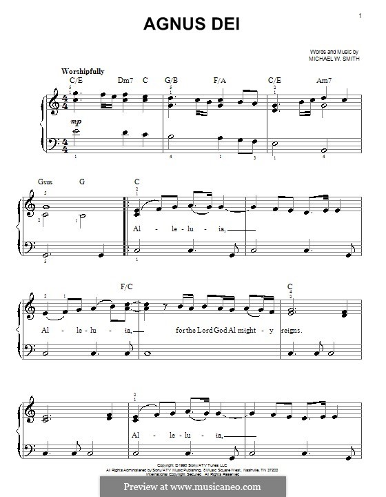 Agnus Dei: For easy piano by Michael W. Smith