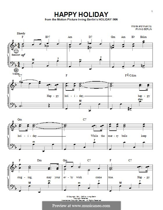 Happy Holiday: For accordion by Irving Berlin