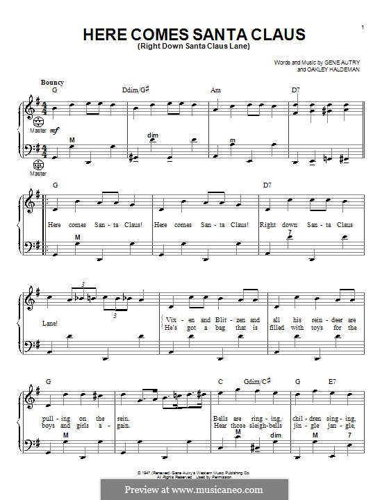 Here Comes Santa Claus (Right Down Santa Claus Lane): For accordion by Gene Autry, Oakley Haldeman