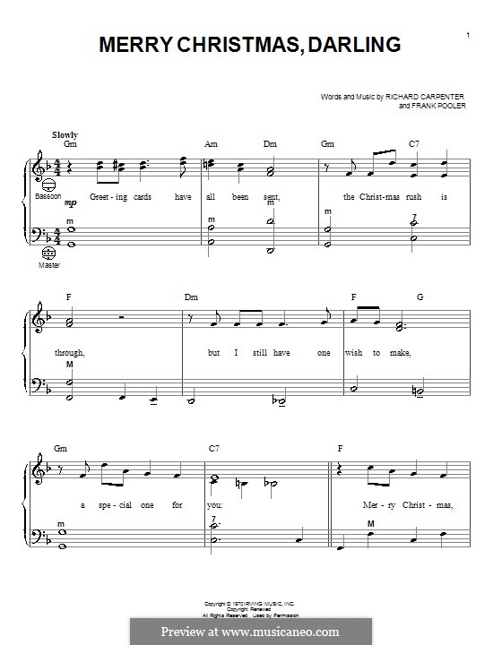 Merry Christmas, Darling (Carpenters): For accordion by Frank Pooler, Richard Carpenter