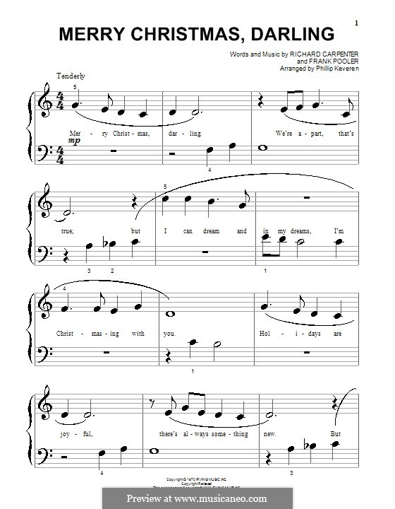 Merry Christmas, Darling (Carpenters): For piano (very easy version) by Frank Pooler, Richard Carpenter