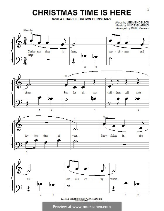 Christmas Time is Here (from A Charlie Brown Christmas), for Piano: Very easy version by Vince Guaraldi