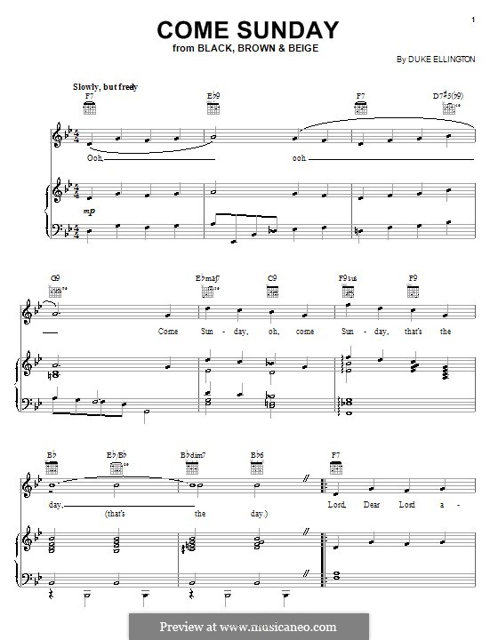 Come Sunday: For voice and piano (or guitar) by Duke Ellington
