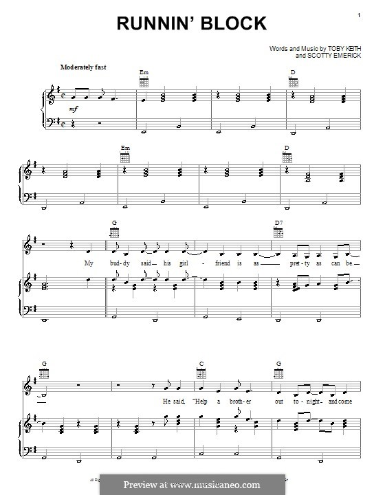 Runnin' Block: For voice and piano (or guitar) by Scott Emerick