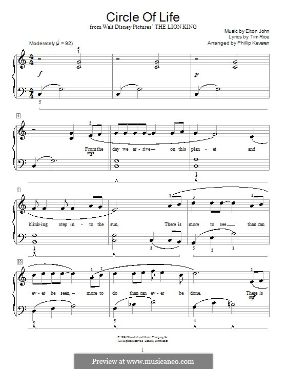 Circle of Life (from The Lion King), instrumental version: For piano with lyric by Elton John