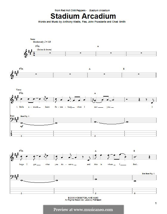 Stadium Arcadium (Red Hot Chili Peppers): For bass guitar with tab by Flea, Anthony Kiedis, Chad Smith, John Frusciante