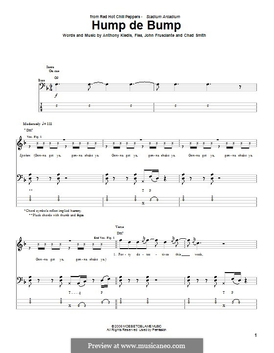 Hump de Bump (Red Hot Chili Peppers): For bass guitar with tab by Flea, Anthony Kiedis, Chad Smith, John Frusciante