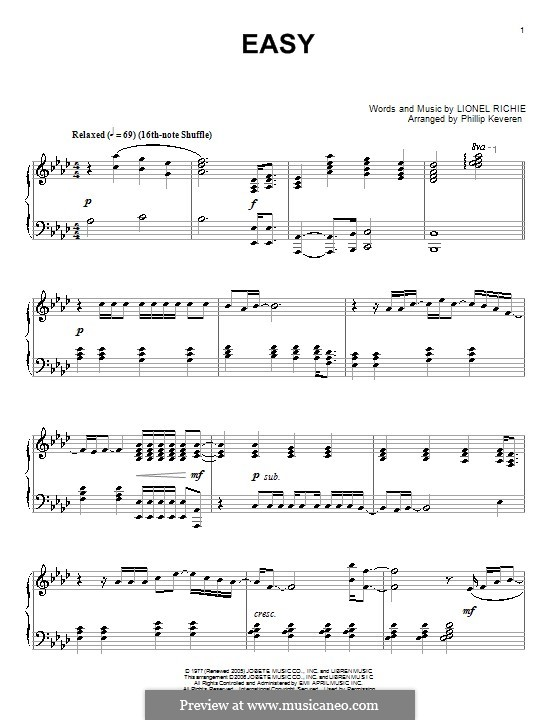 Easy (The Commodores): For piano by Lionel Richie
