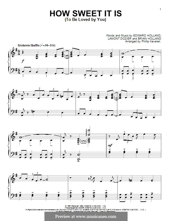 How Sweet It Is (To Be Loved By You): For piano (James Taylor) by Brian Holland, Edward Holland Jr., Lamont Dozier