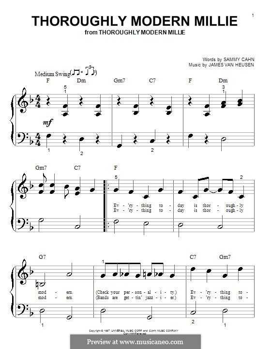 Thoroughly Modern Millie: For piano (very easy version) by Jimmy Van Heusen