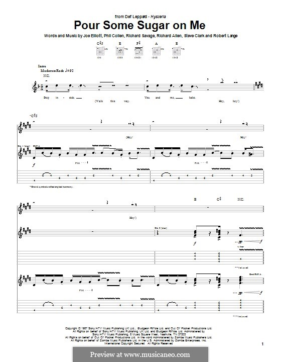 Pour Some Sugar on Me (Def Leppard): For guitar with tab by Joe Elliott, Phil Collen, Richard Savage, Robert John Lange, Steve Clark
