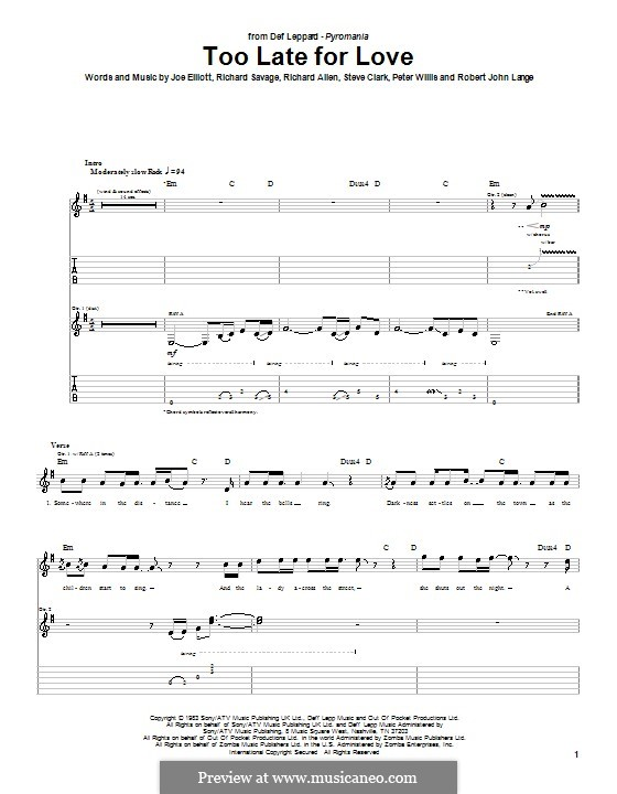 Too Late for Love (Def Leppard): For guitar with tab by Joe Elliott, Peter Willis, Richard Allen, Richard Savage, Robert John Lange, Steve Clark