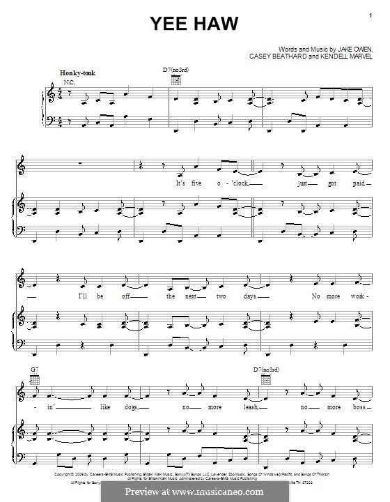 Yee Haw (Jake Owen): For voice and piano (or guitar) by Casey Beathard, Kendell Marvel