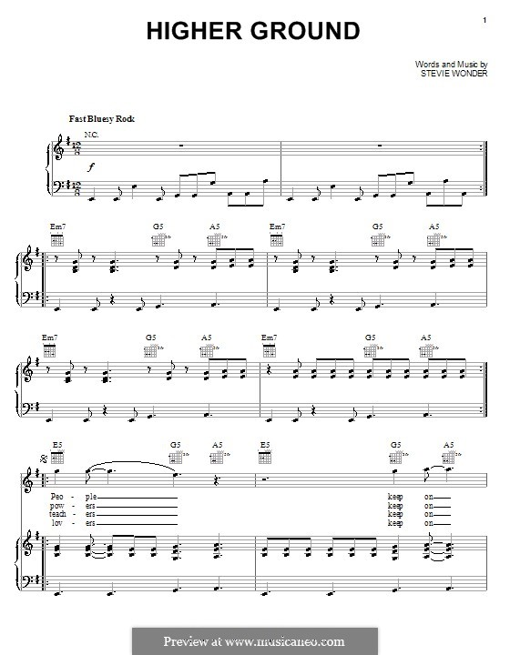 Higher Ground: For voice and piano (or guitar) by Stevie Wonder