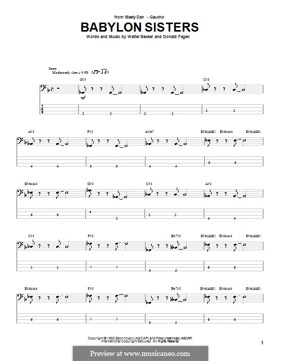 Babylon Sisters (Steely Dan): For bass guitar with tab by Donald Fagen, Walter Becker