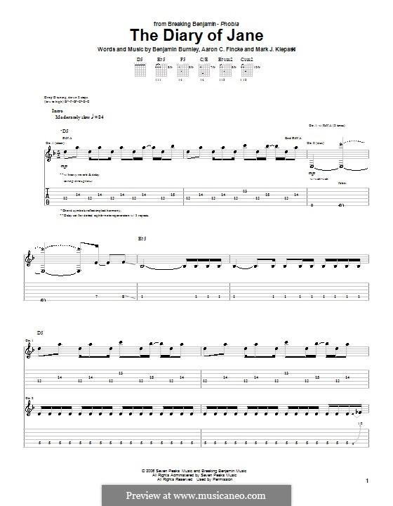 The Diary of Jane (Breaking Benjamin): For guitar with tab by Aaron C. Fincke, Benjamin Burnley, Mark J. Klepaski