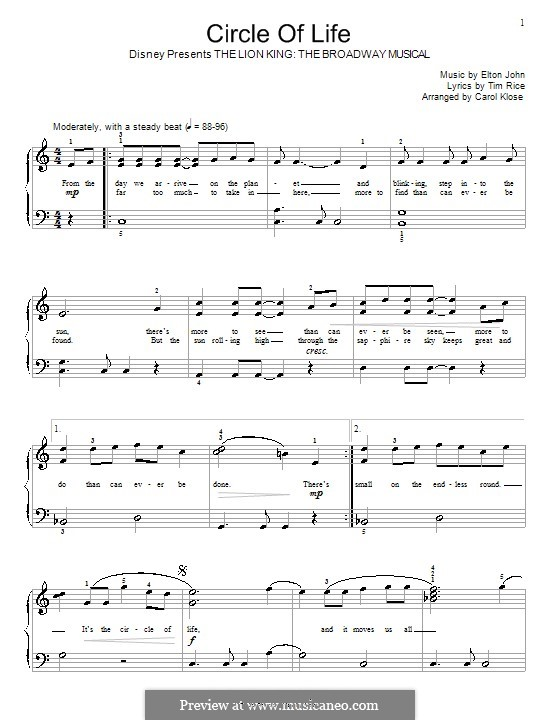 Circle of Life (from The Lion King): For piano (C Major) by Elton John