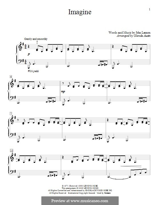 Imagine, for Piano: For a single performer (Glee Cast) by John Lennon
