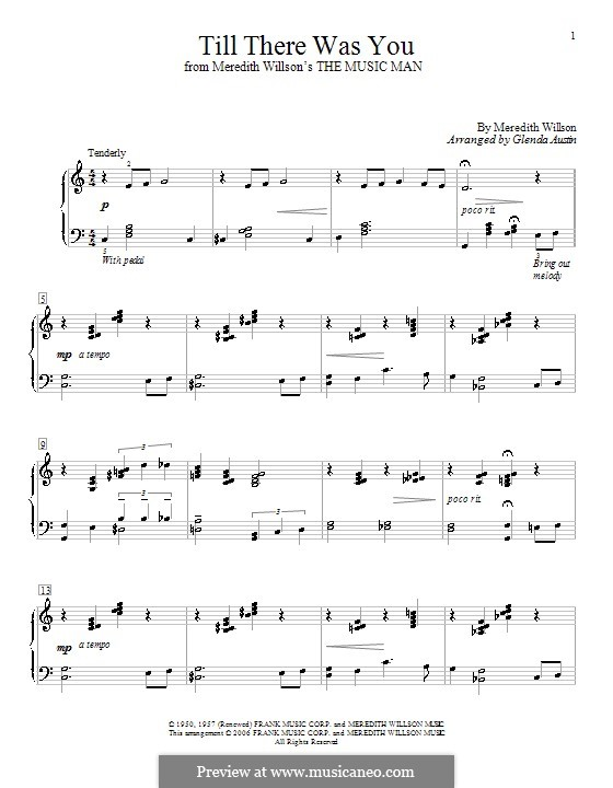 Till There Was You: For piano by Meredith Willson