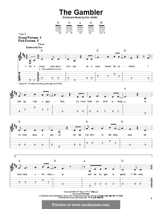The Gambler (Kenny Rogers) by D. Schlitz - sheet music on MusicaNeo