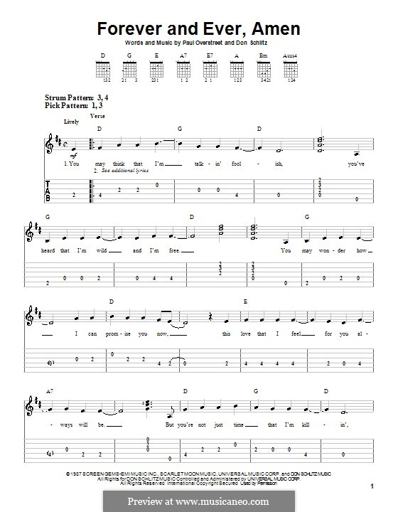 Forever and Ever, Amen (Randy Travis): For guitar (very easy version) by Don Schlitz, Paul Overstreet
