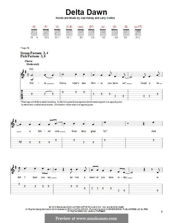 Delta Dawn: For easy guitar (Tanya Tucker) by Alex Harvey, Larry Collins