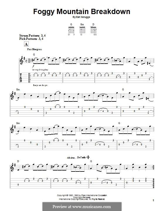 Foggy Mountain Breakdown: For guitar (very easy version) by Earl Scruggs
