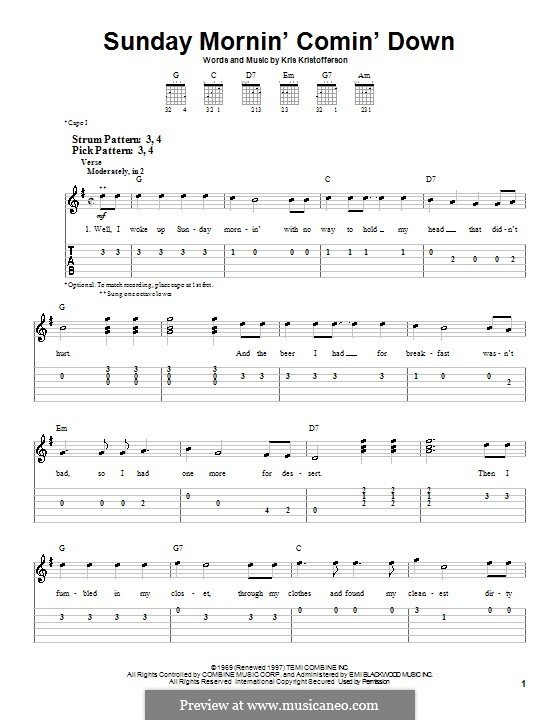 Sunday Mornin' Comin' Down: For guitar (very easy version) by Kris Kristofferson