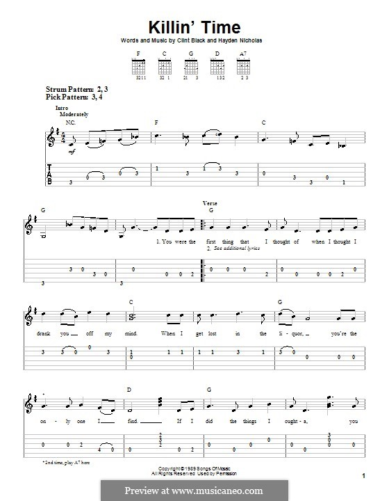 Killin' Time (Clint Black): For guitar (very easy version) by Hayden Nicholas