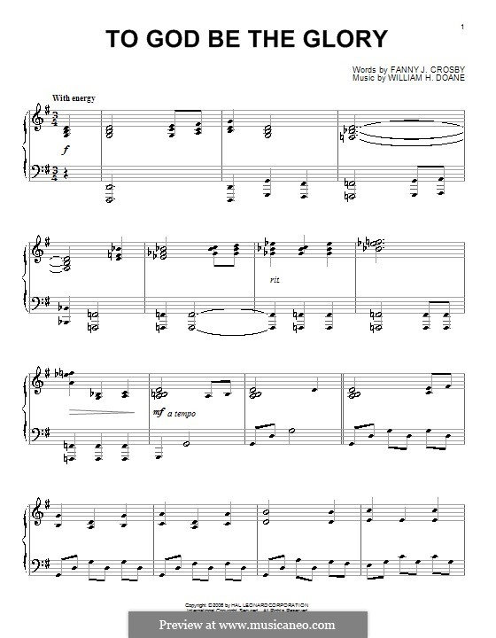 To God be the Glory: For piano by William Howard Doane