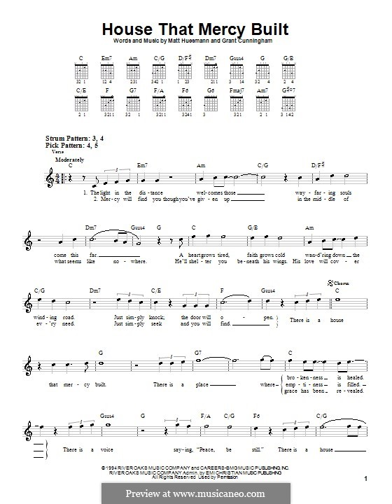 House That Mercy Built (Point of Grace): For guitar (very easy version) by Grant Cunningham, Matt Huesmann