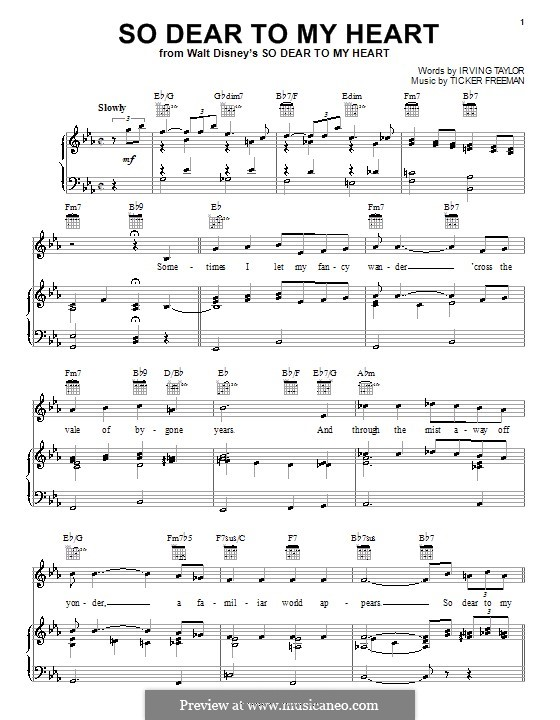So Dear to My Heart (Peggy Lee): For voice and piano (or guitar) by Irving Taylor, Ticker Freeman