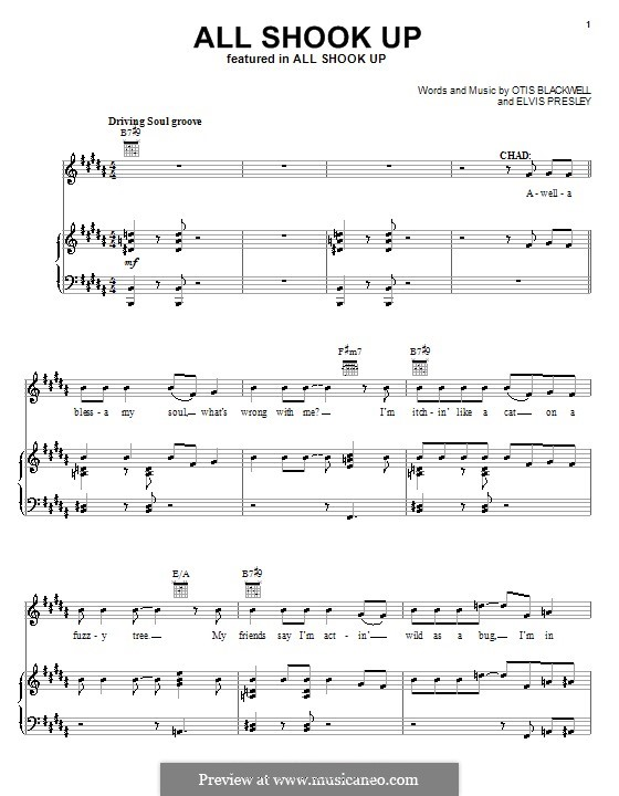All Shook Up: For voice and piano or guitar (H Major) by Elvis Presley, Otis Blackwell