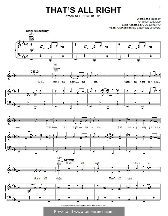 That's All Right (Elvis Presley): For voice and piano (or guitar) by Arthur Crudup
