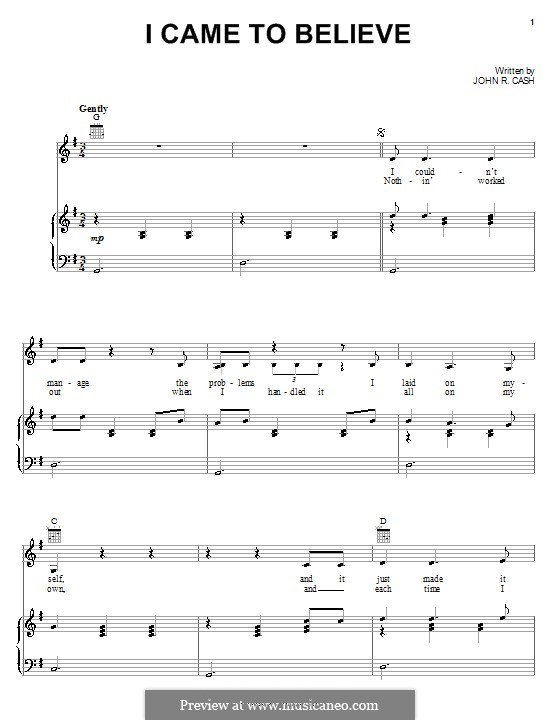 I Came to Believe: For voice and piano (or guitar) by Johnny Cash