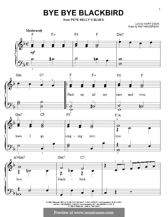 Bye Bye Blackbird: For easy piano by Ray Henderson