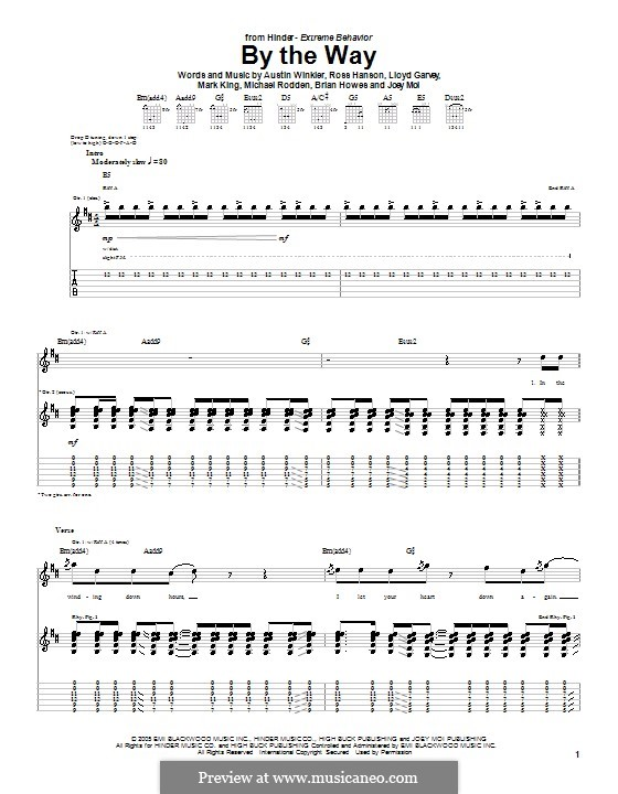 By the Way (Hinder): For guitar with tab by Austin Winkler, Brian Howes, Joey Moi, Lloyd Garvey, Mark King, Michael Rodden, Ross Hanson