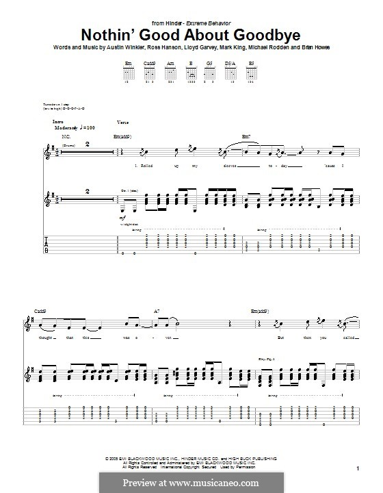 Nothin' Good About Goodbye (Hinder): For guitar with tab by Austin Winkler, Brian Howes, Lloyd Garvey, Mark King, Michael Rodden, Ross Hanson