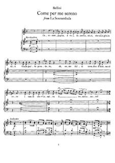 Come per me sereno: For voice and piano by Vincenzo Bellini